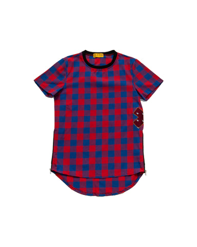 Scar Applique Checkered T-Shirt