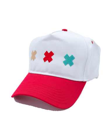 white and red hat