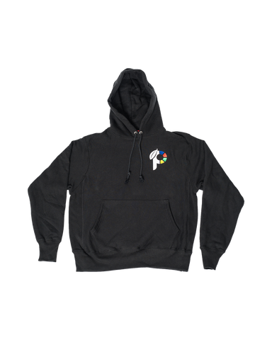black champion hoodie with p logo