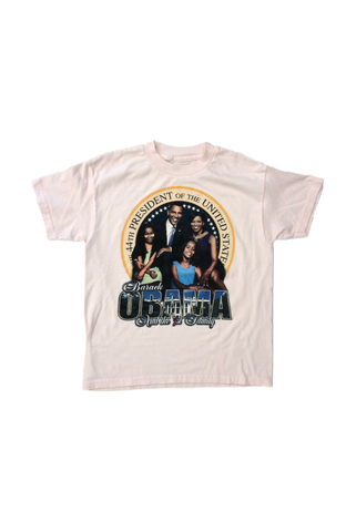 Vintage 2000's Pink Obama T-Shirt Size X-Small