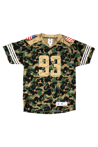 Bape Adidas Camo Football Jersey Size Medium