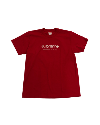 Supreme Shop Logo Red T-Shirt Size Medium