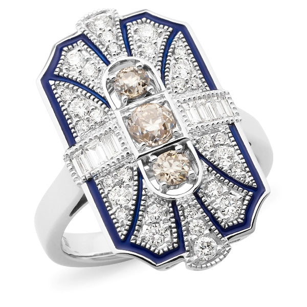 Cleopatra' Art Deco Style Diamond Ring in 9ct White Gold