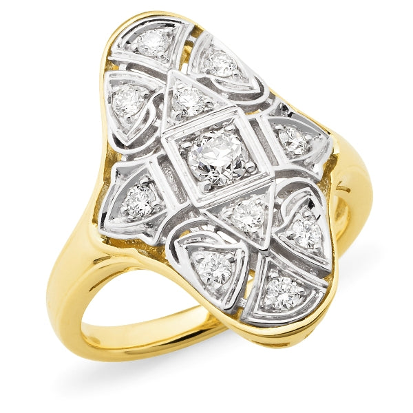 Elsie' Fancy Diamond Ring in 9ct White & Yellow Gold