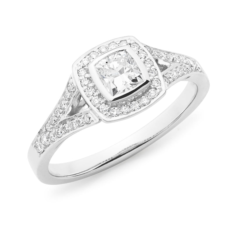 18ct White Gold Cushion & Brilliant Cut 0.53ct Diamond Halo Engagement Ring