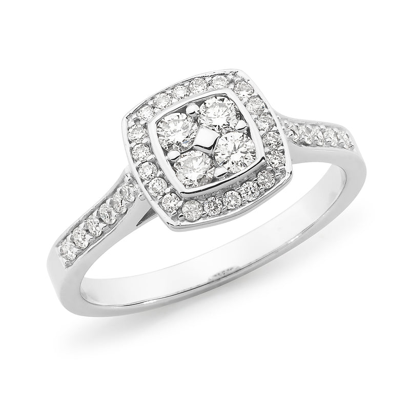 18ct White Gold 0.42ct Diamond Halo Engagement Ring