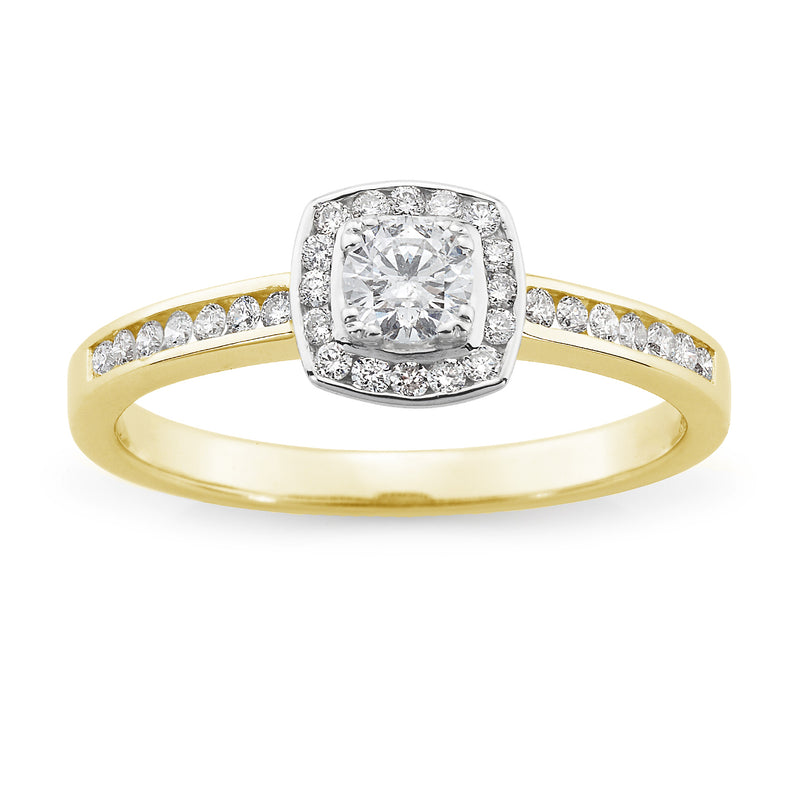 18ct Yellow Gold Brilliant Cut 0.42ct Diamond Halo Engagement' Ring