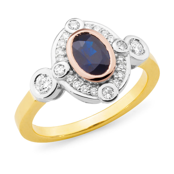 Claire' Oval Cut Sapphire & Diamond Ring in 9ct Yellow, Rose & White Gold