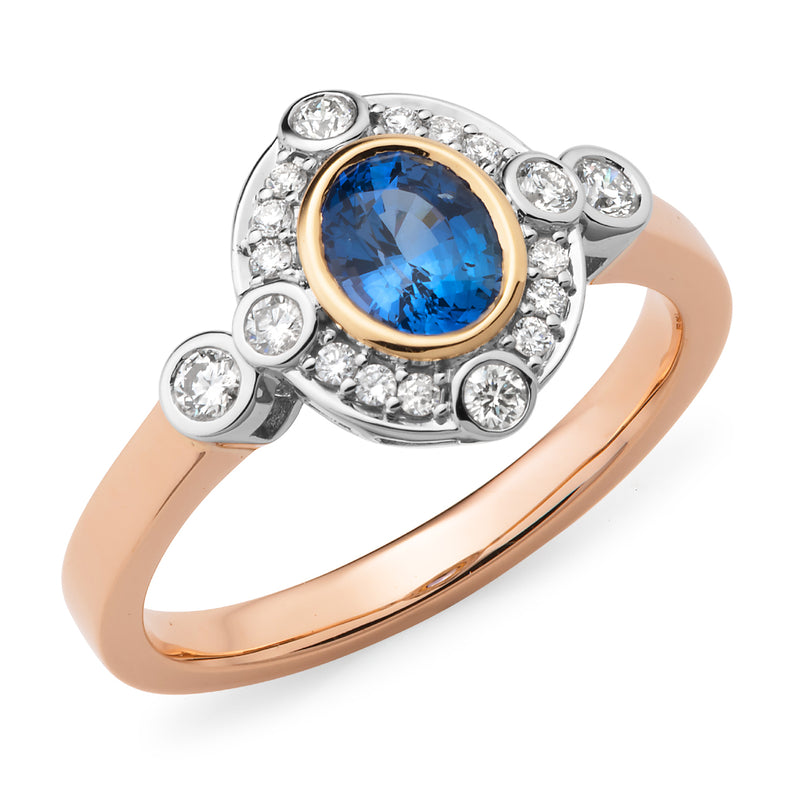 Ada' Oval Cut Ceylon Sapphire Diamond Ring in Yellow, Rose & White Gold
