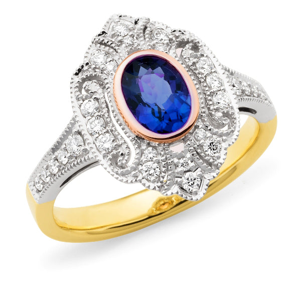 Mabel' Sapphire & Diamond Ring in 9ct Yellow, Rose & White Gold