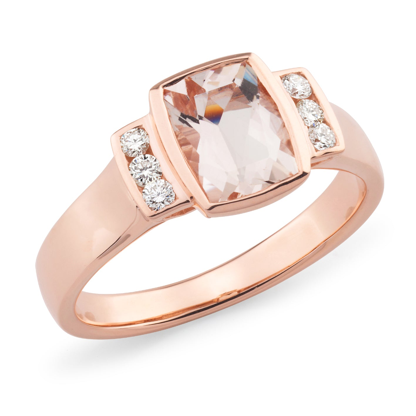 Molly' Morganite & Diamond Ring in 9ct Rose Gold
