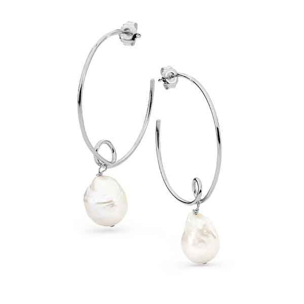 Edison Drop Pearl Hoop Earrings Sterling Silver