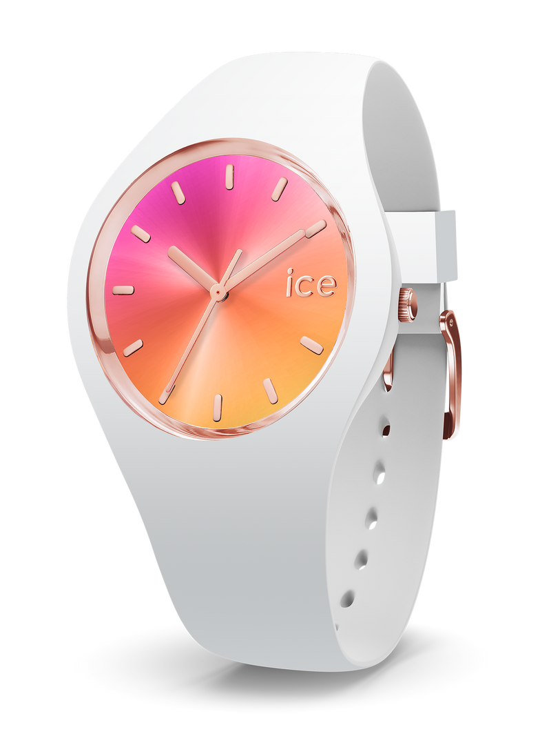 ICE WATCH Sunset Collection Rose Gold Case 40mm (M) Pink Yellow Dial White Strap