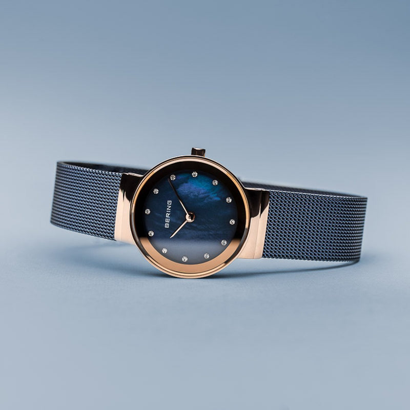 Bering Classic Polished Rose Gold Blue Mesh Swarovski Watch