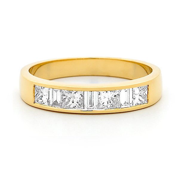 18ct Gold Princess Diamond Channel Set Wedder