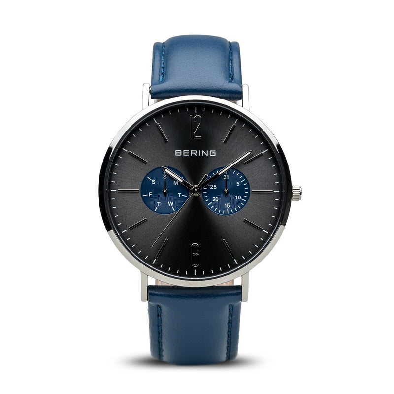 Bering Classic Polished Silver Black Watch