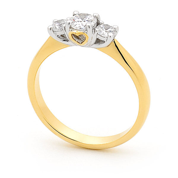 18ct Gold Heart Claw Set Trilogy Ring