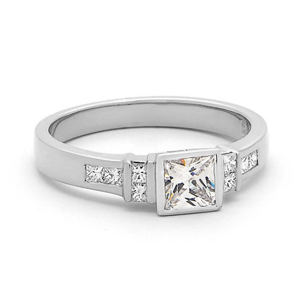 18ct Yellow Gold Princess Cut Diamond Bezel Set Engagement Ring