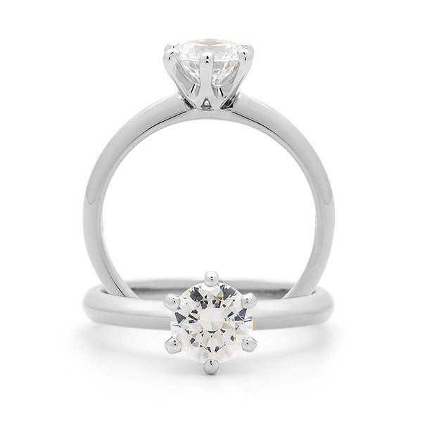 18ct White Gold Six Claw Solitaire