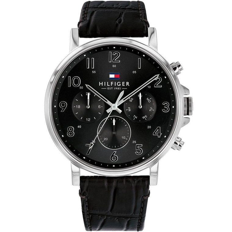 Gents Multifunction Black Leather Watch