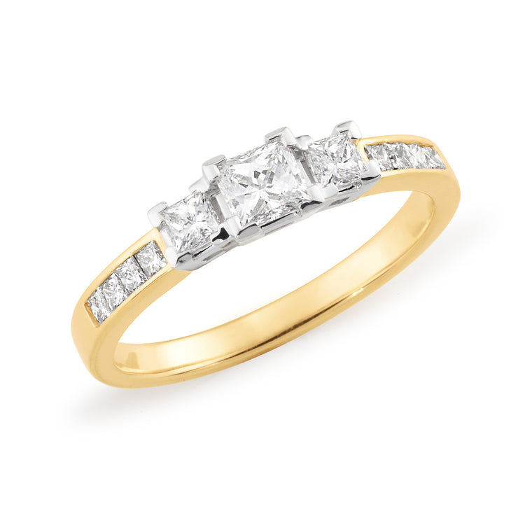 18ct Gold Trilogy & Channel Set Ring