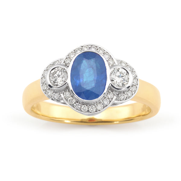 Harriette' Ceylon Sapphire & Diamond Ring in 9ct Yellow & White Gold