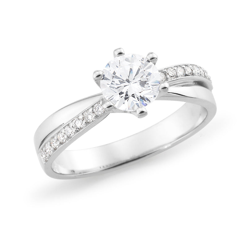18ct White Gold Round Brilliant Cut Diamond Engagement Ring