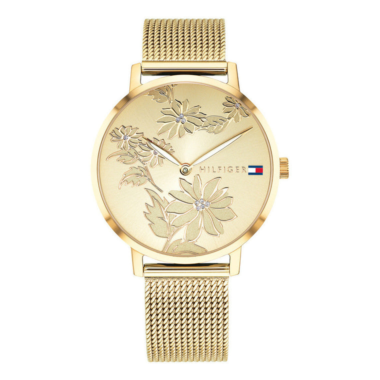 Ladies Gold Floral Watch