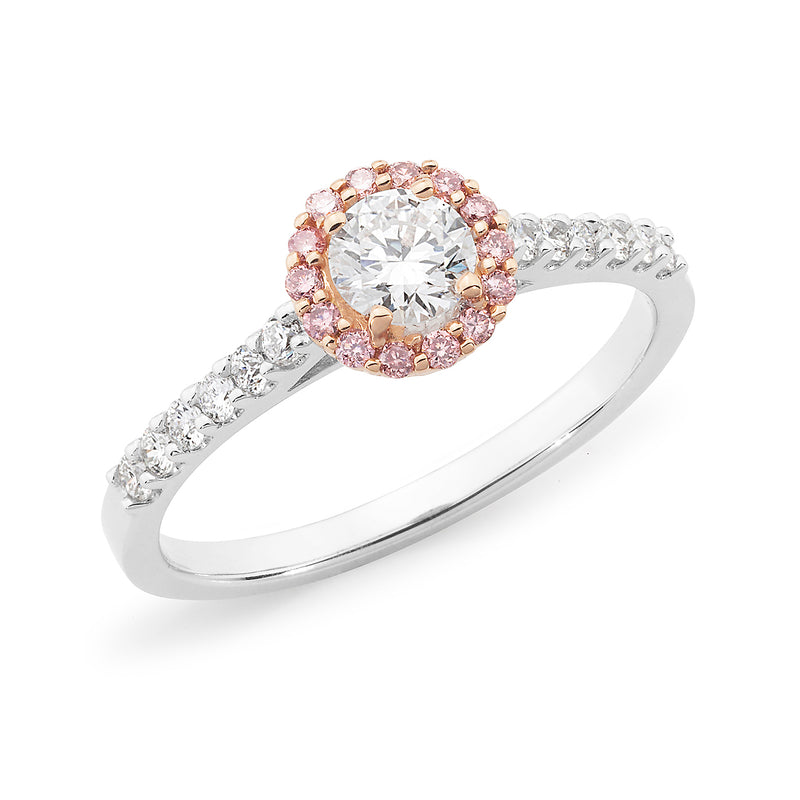 18ct White Gold Round Brilliant Cut White & Pink Diamond Halo Engagement Ring