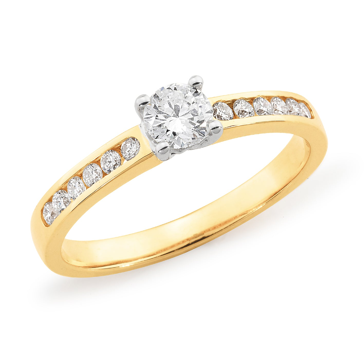 18ct Gold Solitaire & Channel Set Ring