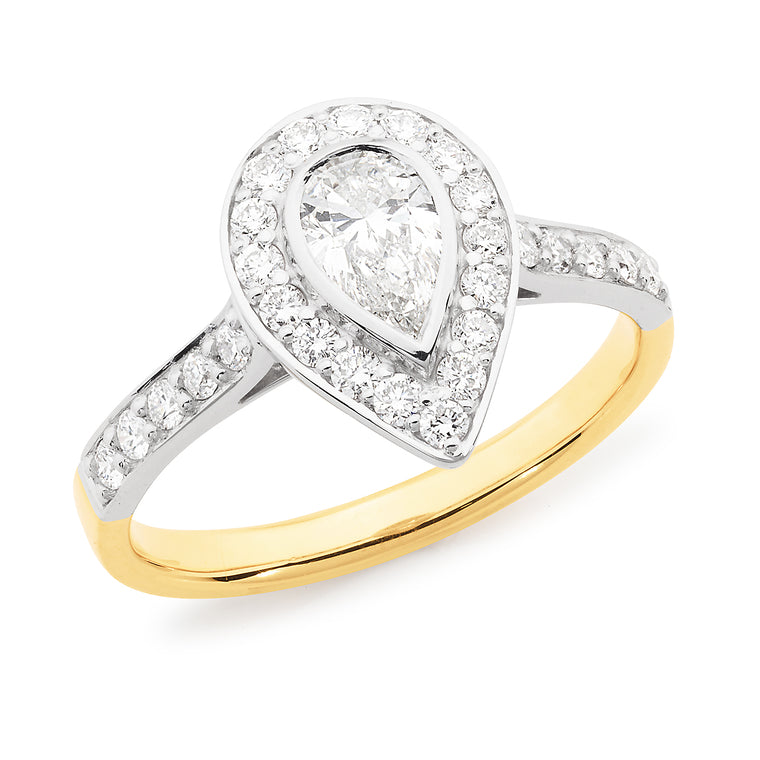 18ct Gold Pear Diamond Halo Ring