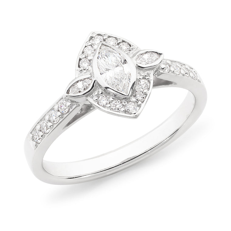 18ct Marquise Diamond Halo Ring