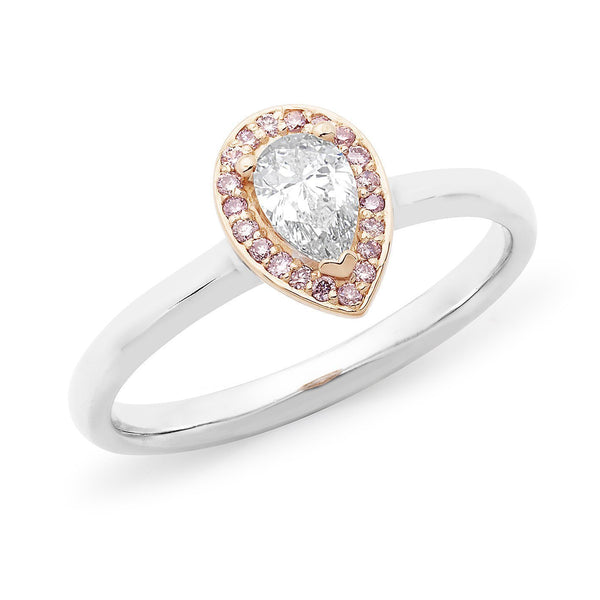 PINK CAVIAR 0.40ct Pink & White Pear Cut Diamond Halo Engagement Ring in 18ct White & Rose Gold