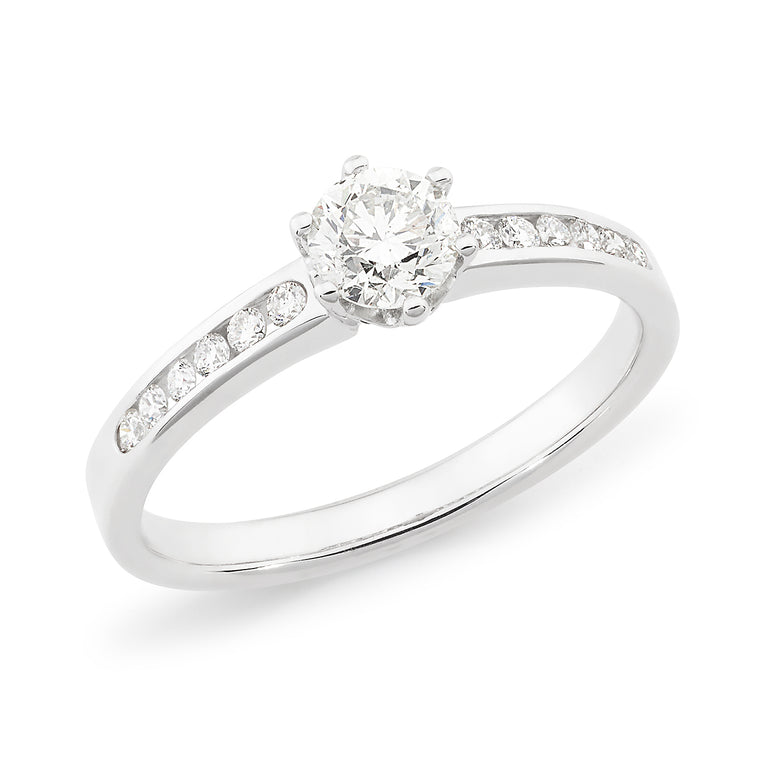 18ct Gold Channel Set Solitaire