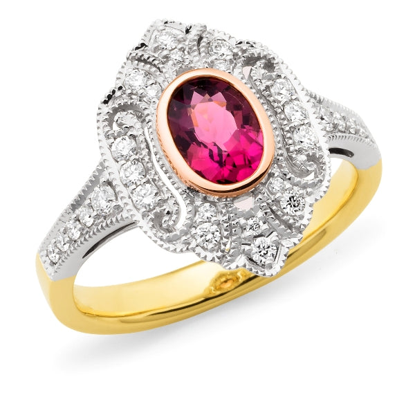 Valentina' Pink Tourmaline & Diamond Ring in 9ct Yellow, White & Rose Gold