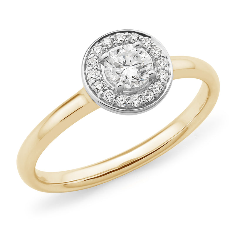 18ct Yellow Gold Diamond Halo Ring