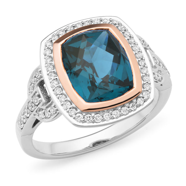 Aria' London Blue Topaz & Diamond Ring in 9ct White Gold