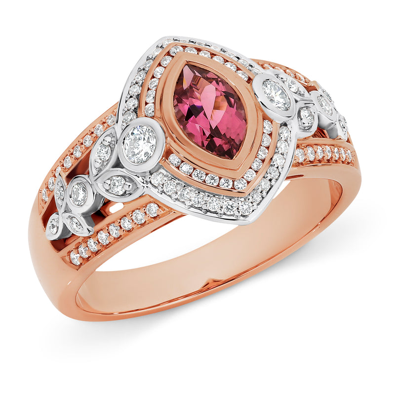 Jasmine' Pink Tourmaline & Diamond Ring in 9ct Rose & White Gold