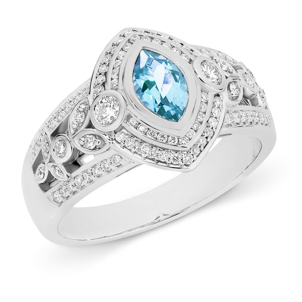 Celeste' Aquamarine & Diamond Ring in 18ct White Gold