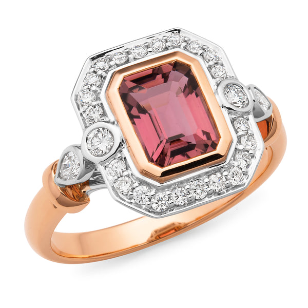 Maddison' Pink Tourmaline & Diamond Ring in 18ct Rose & White Gold