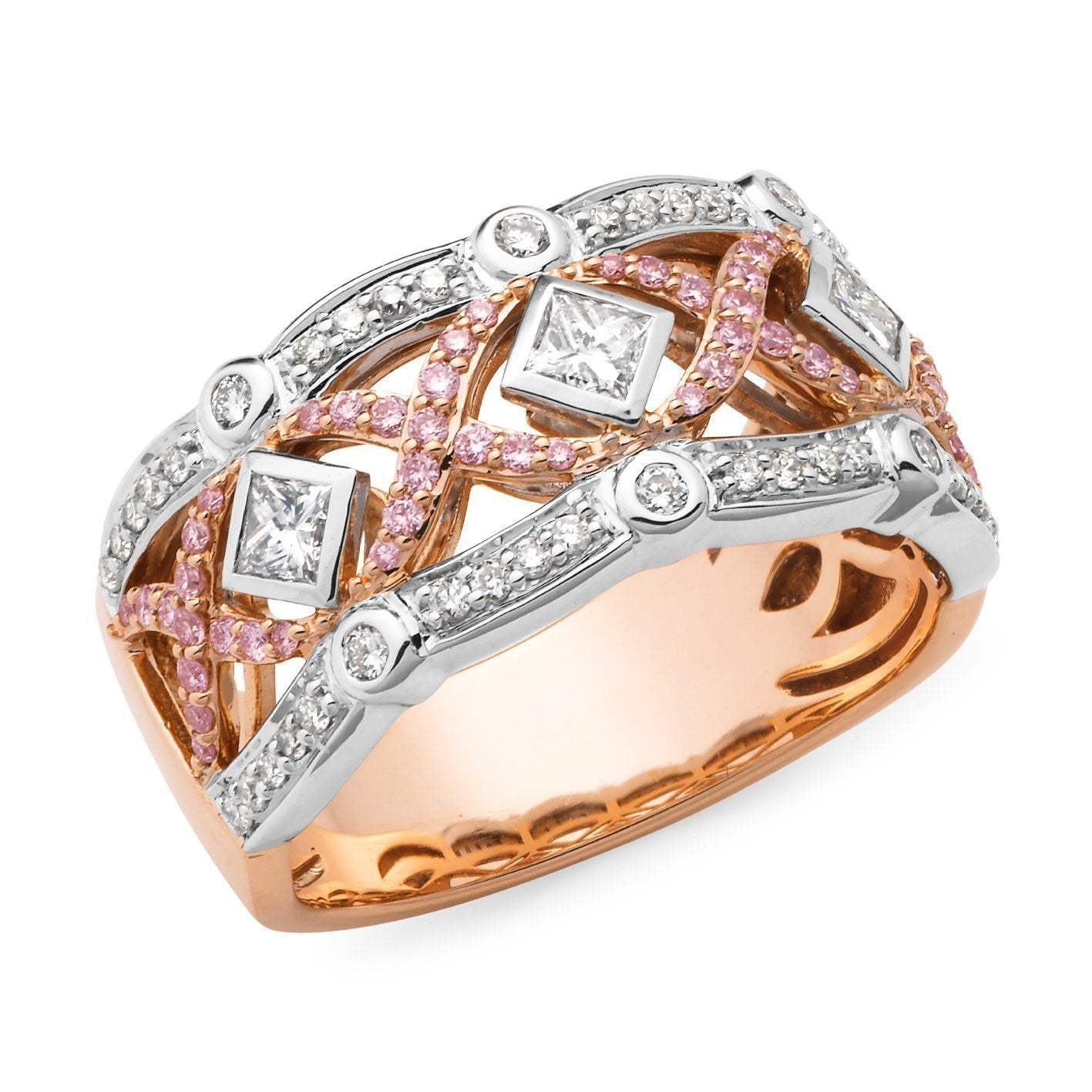 PINK CAVIAR 0.83ct Pink Diamond Ring in 9ct Rose & White Gold