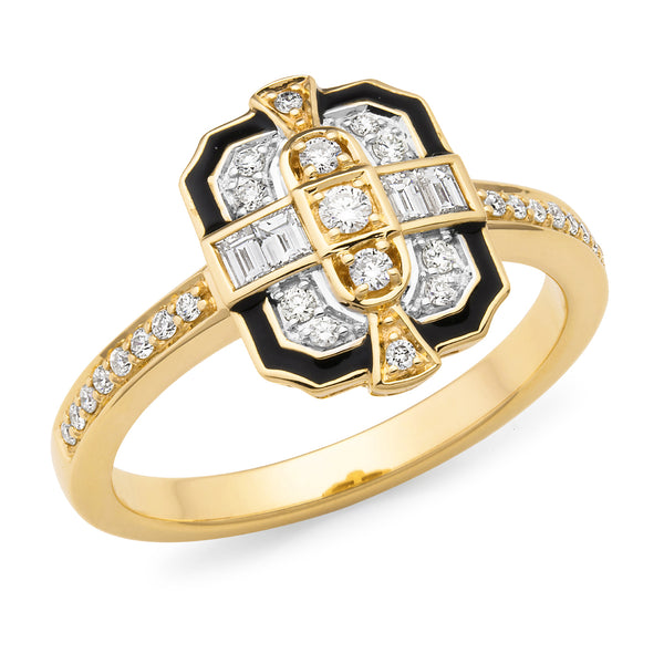 Aurora' Art Deco Style Diamond Ring in 9ct Yellow gold