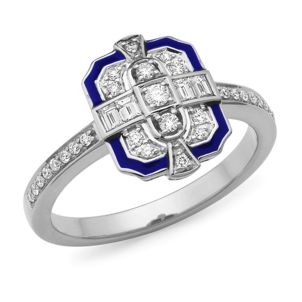 Sofia' Art Deco Style Diamond Ring in 9ct White Gold
