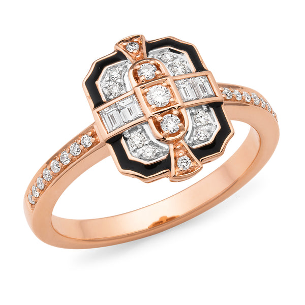 Estelle' Art Deco Style Diamond Ring in 9ct Rose Gold