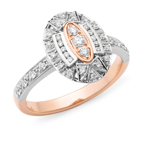 Hedy' Art Deco Style Diamond Ring in 9ct Rose & White Gold