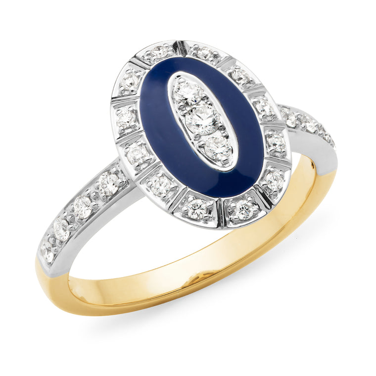 Bellino - Diamond & Blue Enamel Ring