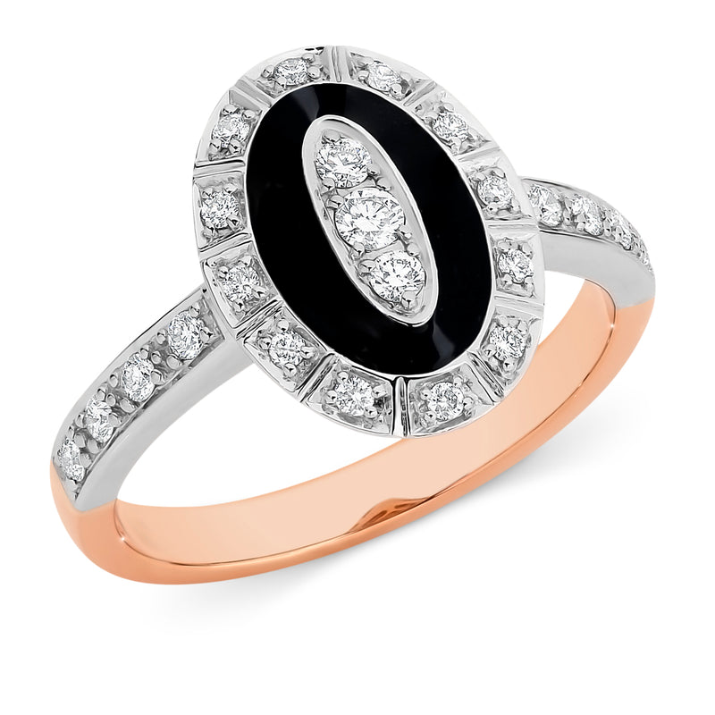 Clara' Diamond & Black Enamel Ring in 9ct Rose & White Gold