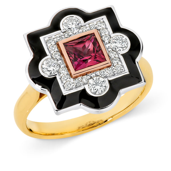Jean' Pink Tourmaline & Diamond Ring in 9ct White, Yellow & Rose Gold