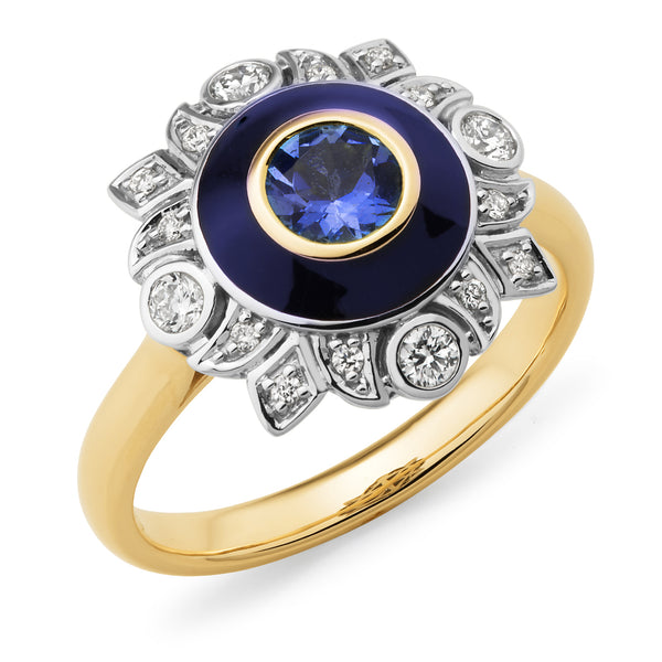 9ct Yellow & White Gold Tanzanite & Diamond Ring