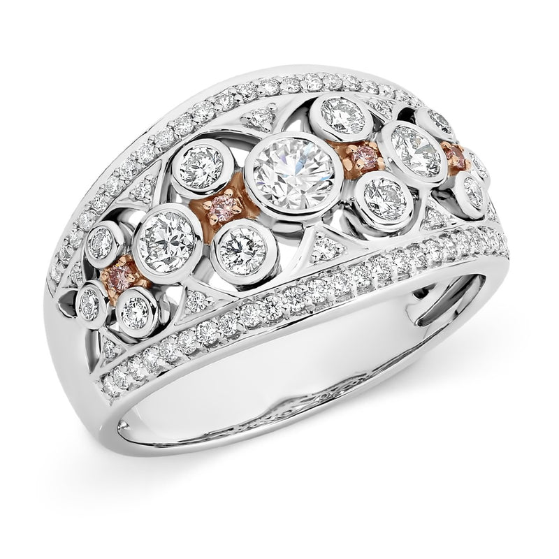 PINK CAVIAR 0.99ct Pink Diamond Ring in 9ct White & Rose Gold